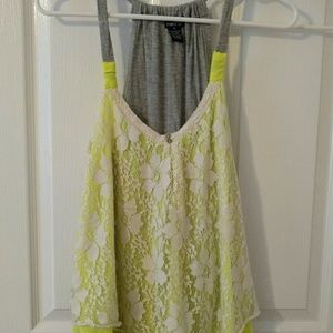 Tops - Yellow and cream lace tank